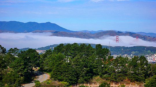 Golden Gate Bridge, Mt. Tam, fog, San Francisco