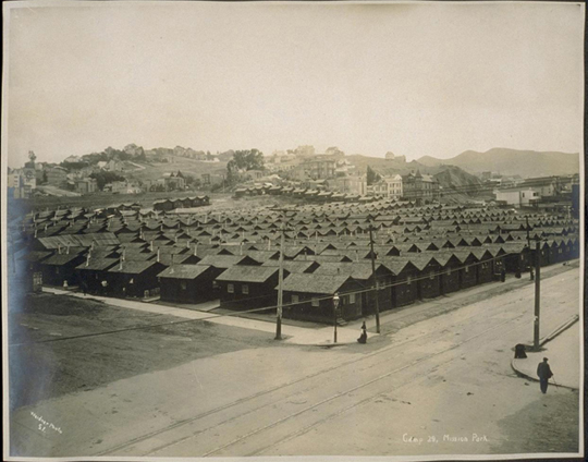 "City of ""earthquake cottages"" in Mission (what is today ""Dolores"") Park."