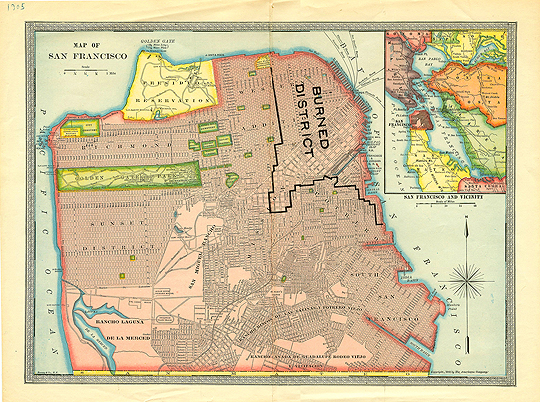 Nice Color Scan of San Francisco Map circa 1907 Showing Fire Line