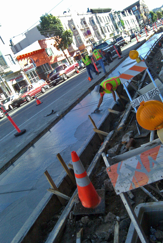Sidewalks restored on Valencia Street, Mission, San Francisco
