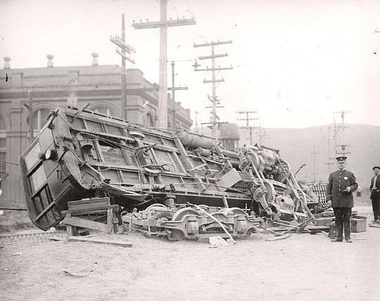 Tipped & Smashed Streetcar, San Francisco, 1920
