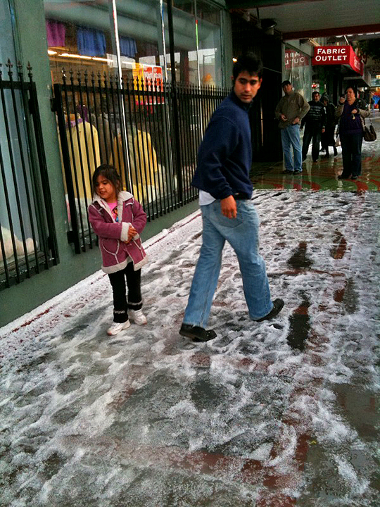 Snow on Mission Street, San Francisco!