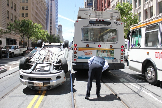 Overturned Car on Market, San Francisco, photo by Spots Unknown