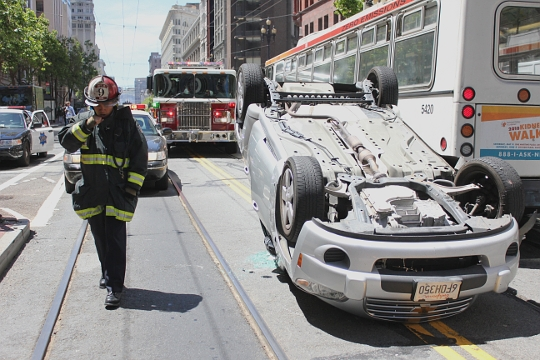 Overturned Car on Market Street, San Francisco, photo by Spots Unknown