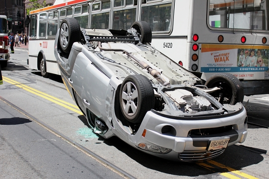Overturned Car, Market Street, San Francisco, photo by Spots Unknown