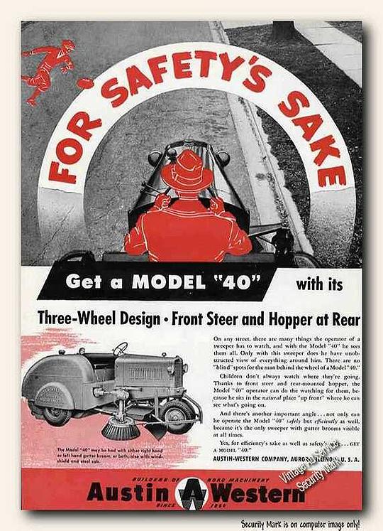 Vintage Street Sweeper Ad, 1950