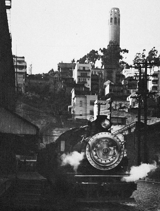 Steam train, California Belt line, San Francisco; photo by Seymour Snaer