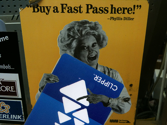 Phyllis Diller on the Clipper Card, San Francisco